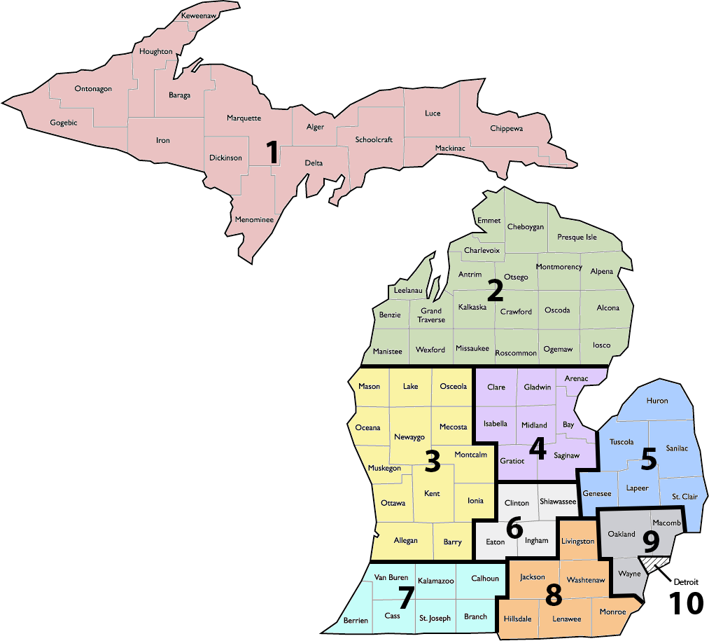 Michigan State Map showing 10 regions for the state at county level.
