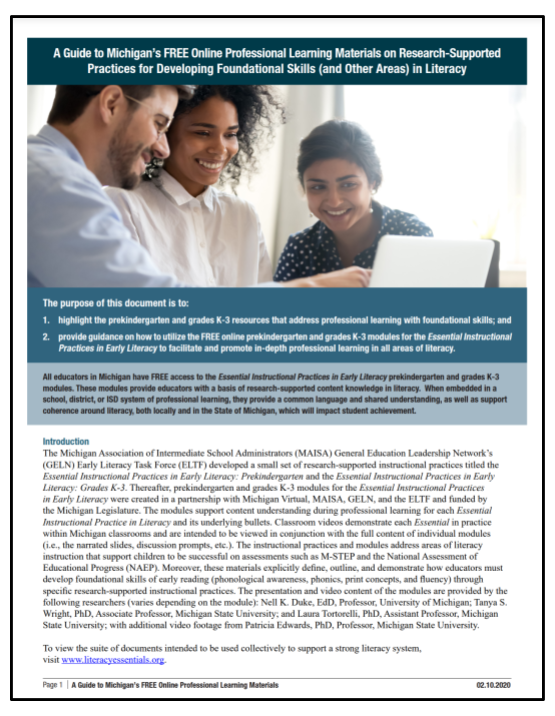 A Guide to Michigan's FREE Online Professional Learning Materials on Research-Supported Practices for Developing Foundational Skills (and Other Areas) in Literacy