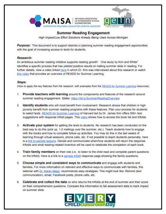 Summer Reading Engagement Resources Link